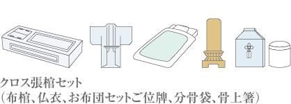 クロス張棺セット (布棺、仏衣、お布団セットご位牌、分骨袋、骨上箸)